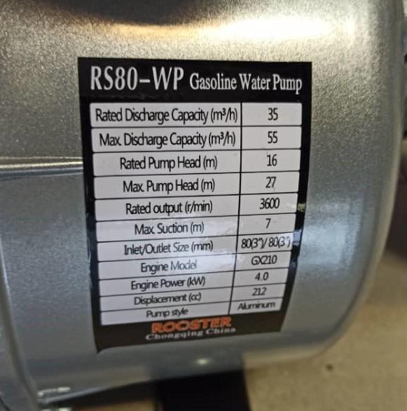 موتور پمپ روستر بنزینی مدل roster RS80-WP