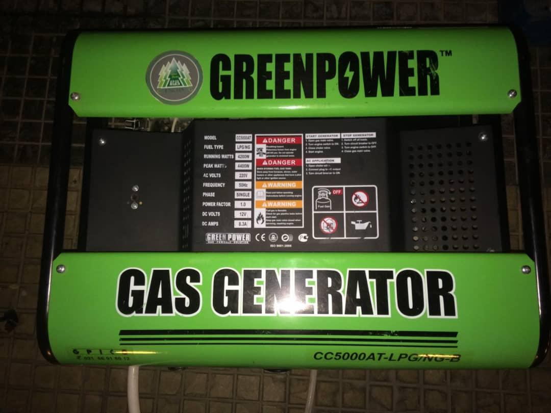 موتور برق گازسوز گرین پاور   دست دوم   CC5000 AT